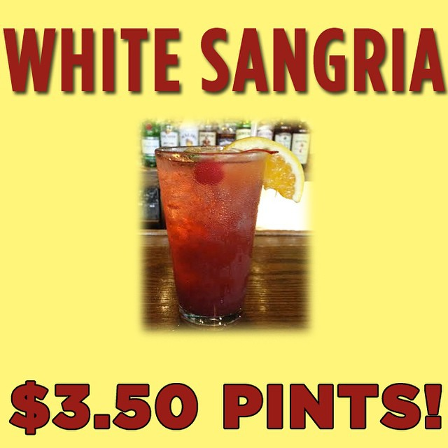 NOW FOR A LIMITED TIME! Our homemade White Sangria is $3.50 a pint! Grab this deal while it lasts! #localbars #sangria