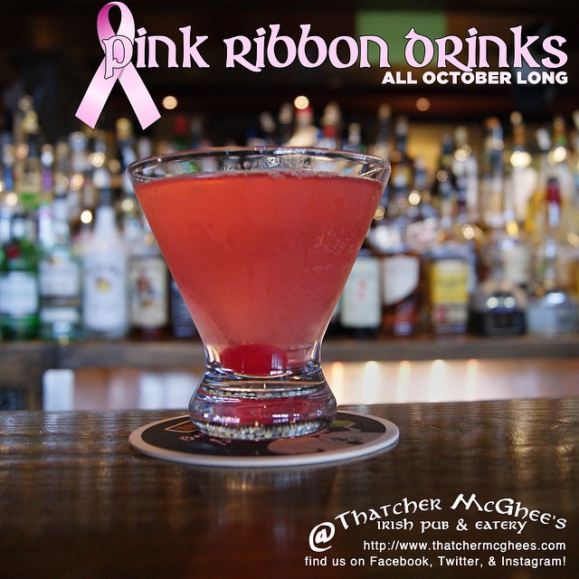 THATCHER MCGHEE'S SUPPORTS THE SEARCH FOR THE CURE! Through all of October, our special drinks will all be PINK in honor of Breast Cancer Awareness Month. At the end, we will be donating one dollar for every Pink Ribbon Drink we sell! This week, the Pink Ribbontini has a lemon zing to it! #breastcancerawareness