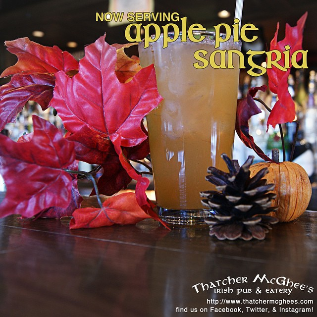 Fall is in the air, in the trees, and now in our Sangria! NOW POURING: Apple Pie Sangria! Stop in and grab a pint! #sangria #apple #fall #localbars